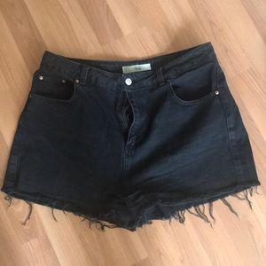 Topshop black distressed mom jean shorts size 12